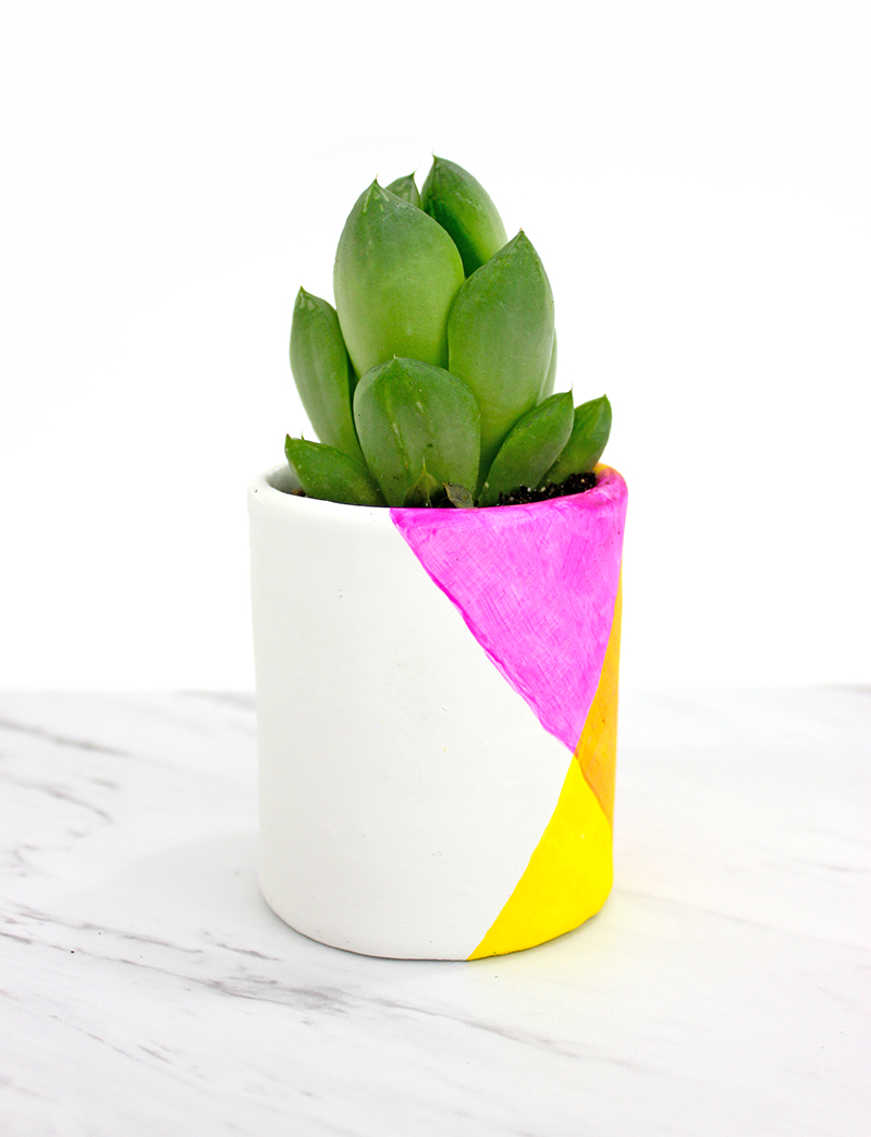 Bright and colorful geometric planter