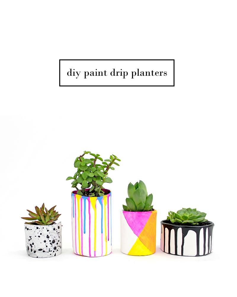 DIY Paint Drip Planters @linesacross