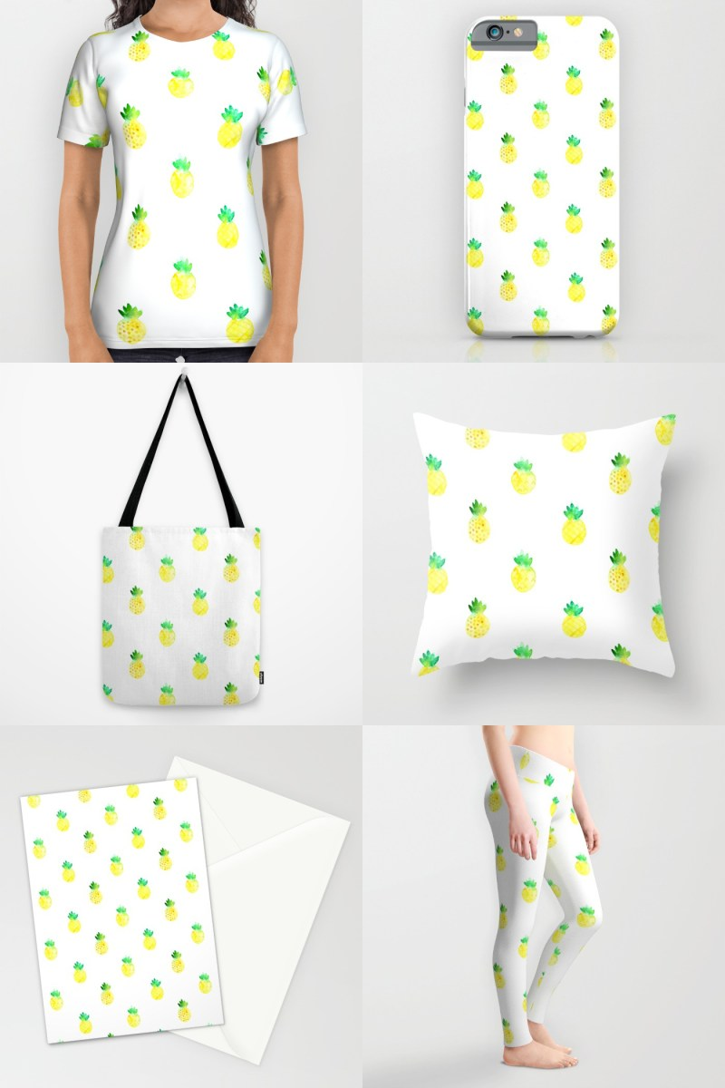 shop watercolor pineapple pattern on society6