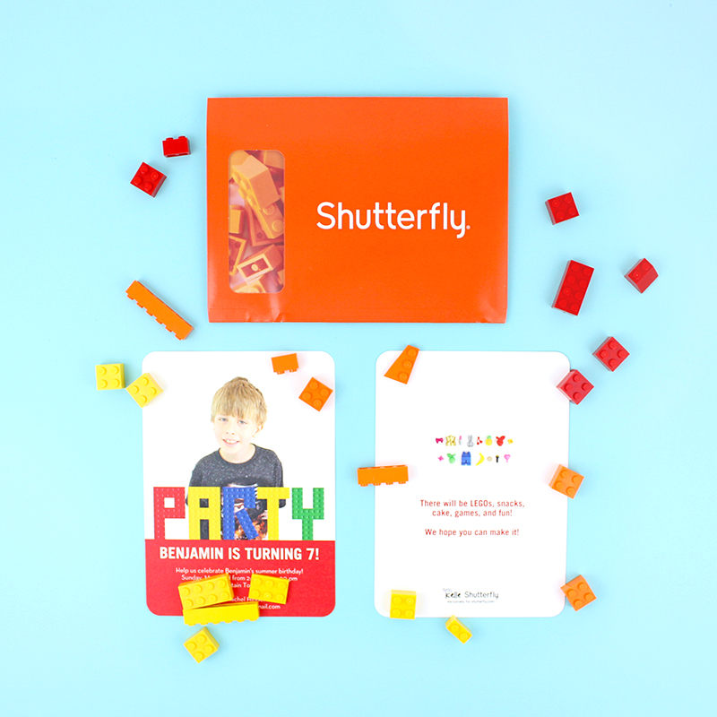 Lego birthday party invitations from Shutterfly