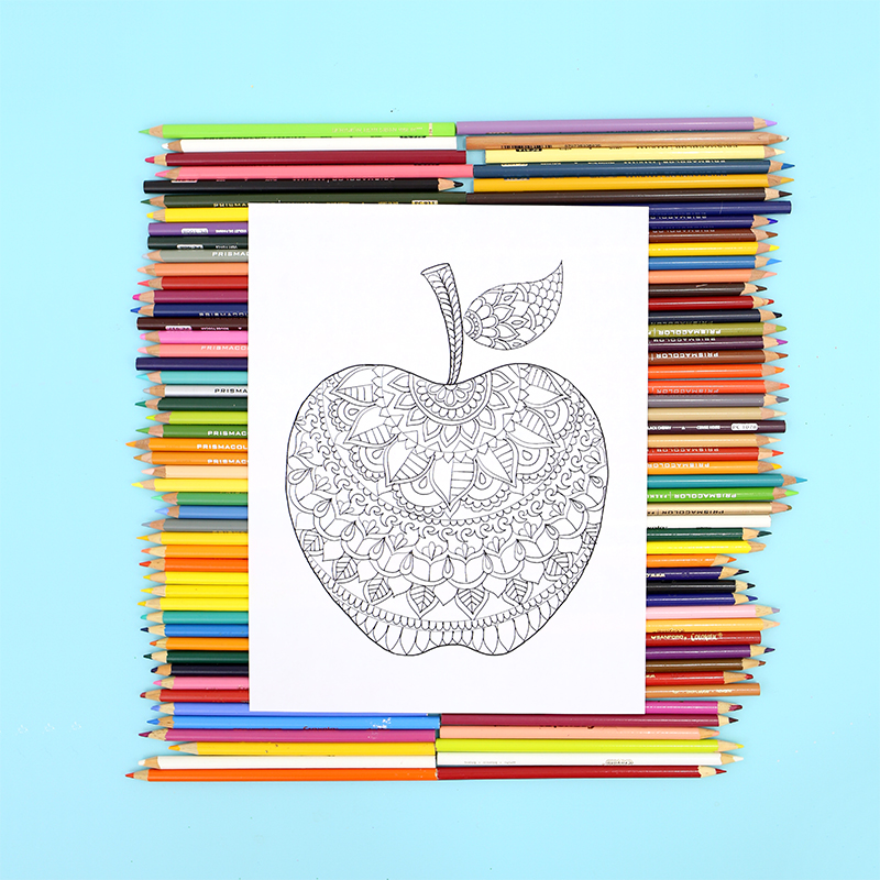 Apple Coloring Page - Free Printable - Lines Across