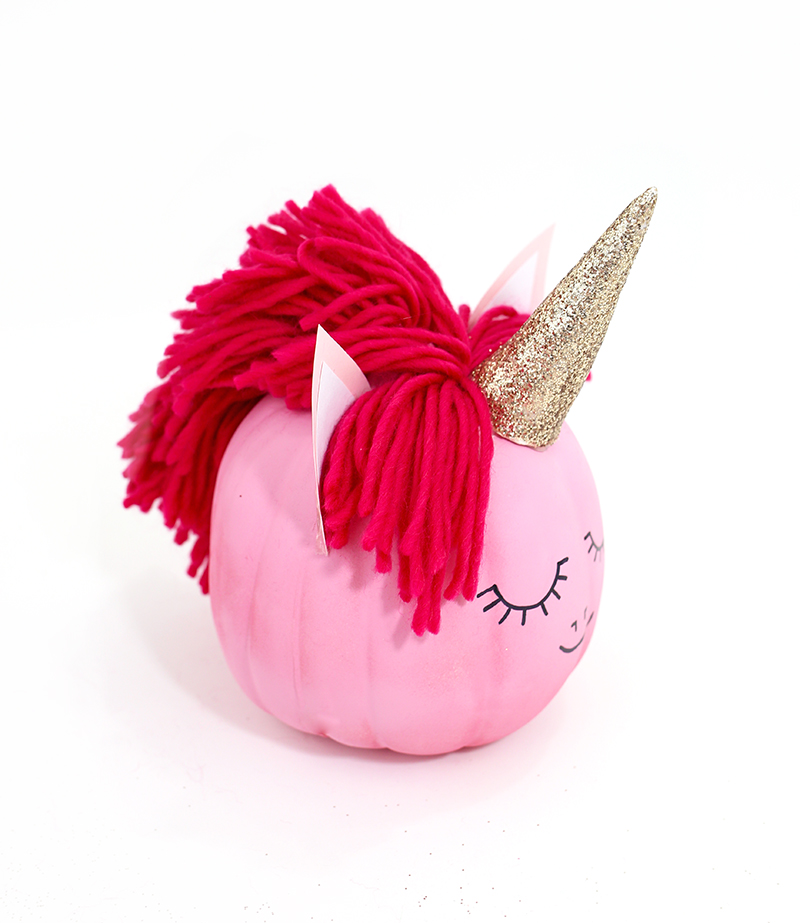 How to make a pink unicorn pumpkin by @linesacross 3