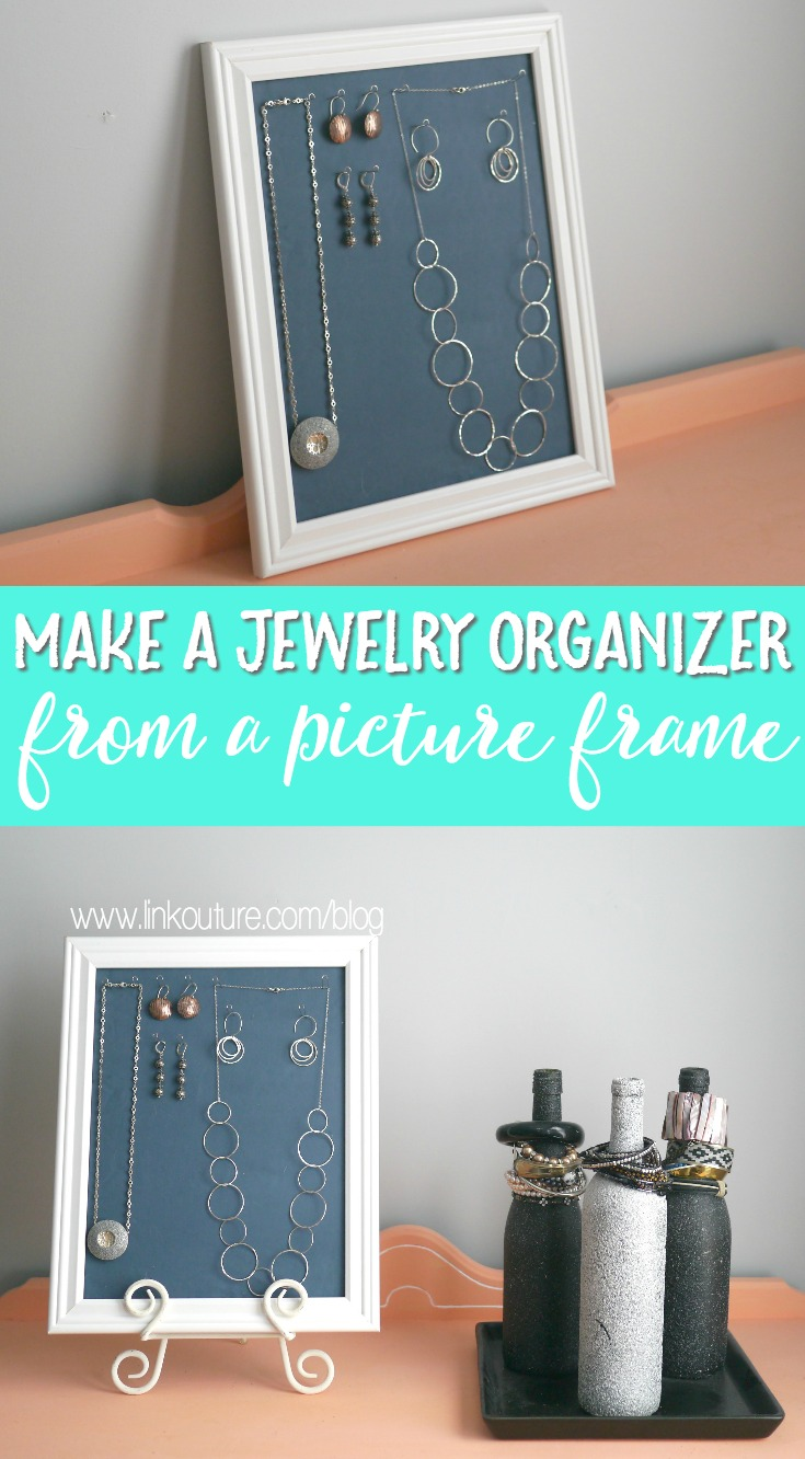 Make a beautiful DIY jewelry organizer with just a few cheap supplies. It is the perfect way to display your jewelry on the wall or prop up on a table.
