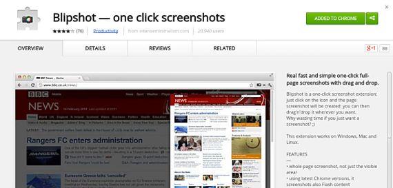 Blipshot Chrome screenshot extension