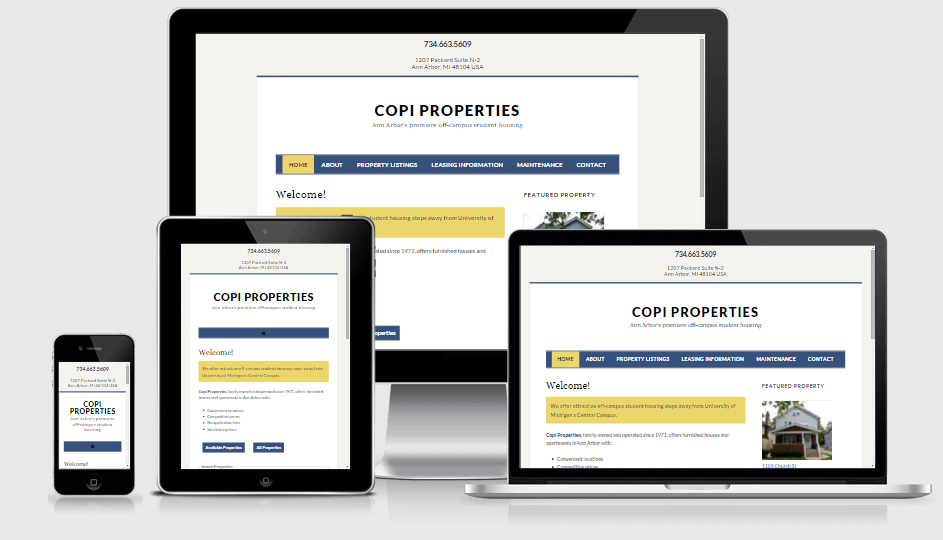 Copi Properties as displayed on desktop, tablet, smartphone and laptop