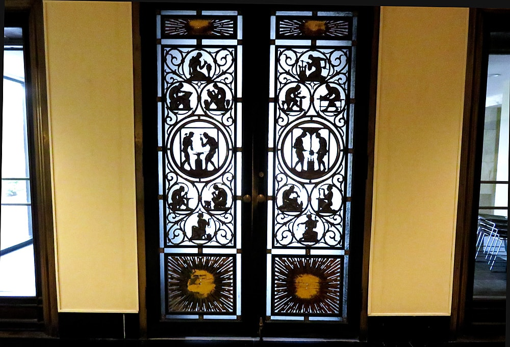 Decorative metalwork double doors