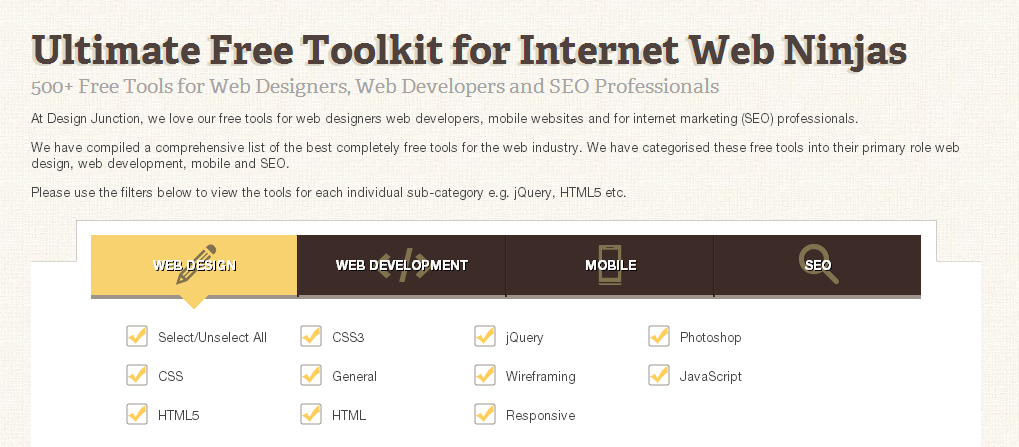 Ultimate Free Toolkit showing filter options for search tools