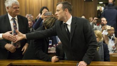 Oscar Pistorius attends a sentencing hearing for the murder of his girlfriend Reeva Steenkamp