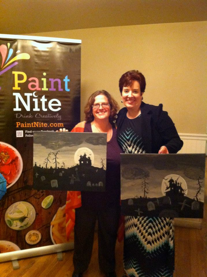 My first Paint Nite with my friend Jannatha, see how different our paintings are.