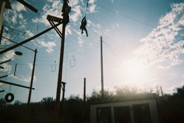 The ropes course, rock wall, and zipline we did challenge exercises on.  (Wickenburg, Arizona)
