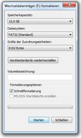 USB formatieren mit Win 7