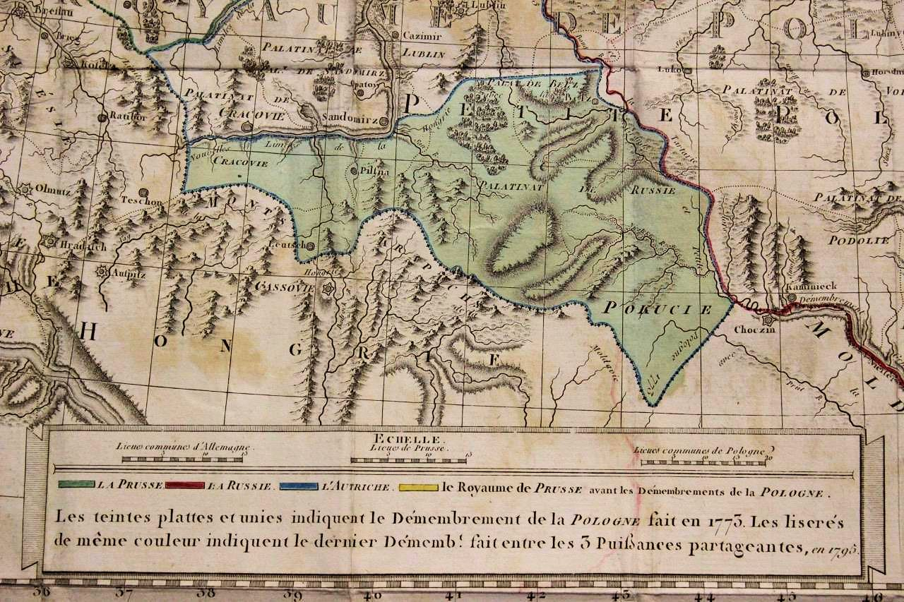 Maps1799 1800 Dutchy of Lithuania  including  Samogitia and Curland  Divided according to  their dismember  ments   London  54 x 59 cm  as a folding map glued to  linen