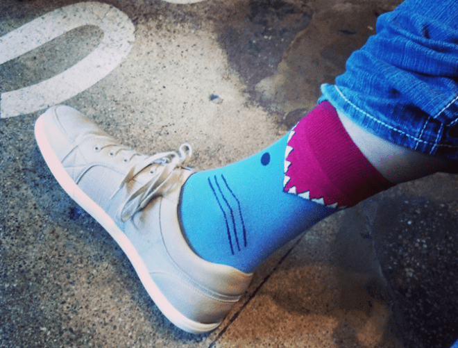 [J] rocks shark socks.
