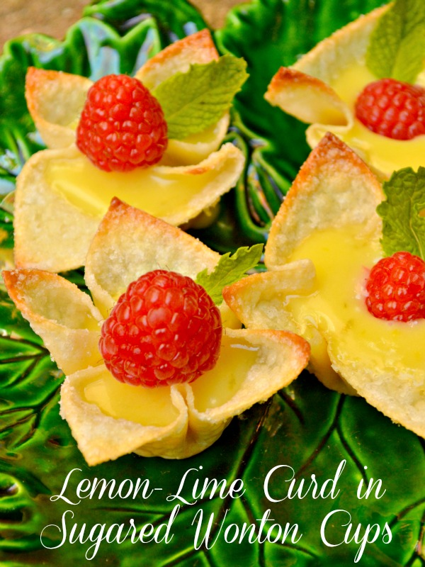 Lemon-Lime Curd in Sugared Wonton Cups at Little Miss Celebration @CindyEikenberg #summer