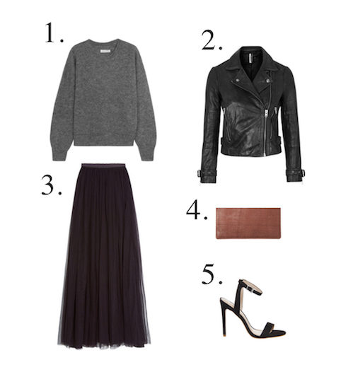 Mama Spree: how to wear your leather biker jacket with long tulle skirt