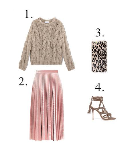Topshop pink velvet pleated skirt - Little Spree