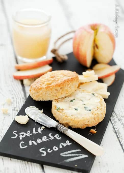 Spelt Cheese Scones with Herb Butter