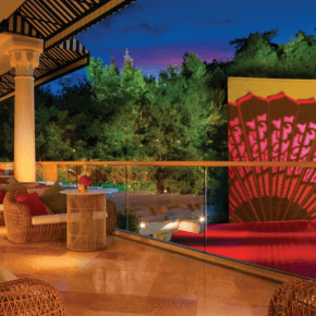 The Lake of Dreams ceremony takes place on a terrace next to Wynn's Lake of Dreams and waterfall