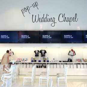 Pop Up Wedding Chapel Interior at Cosmopolitan, March 2013. Photo: Kelly / Little Vegas Wedding