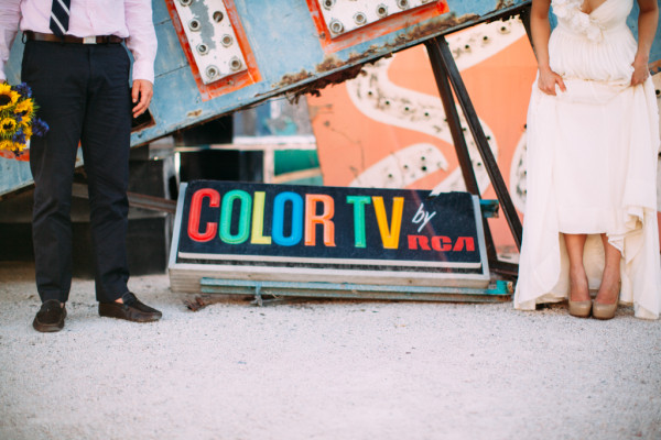 Neon Museum Elopement | Little Vegas Wedding