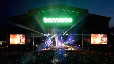 MANCHESTER, TN - JUNE 13:  Musicians Carl Broemel, Tom Blankenship, Patrick Hallahan and Jim James of My Morning Jacket perform on the What Stage during Day 3 of the 2015 Bonnaroo Music And Arts Festival on June 13, 2015 in Manchester, Tennessee.  (Photo by Jeff Kravitz/FilmMagic for Bonnaroo Arts and Music Festival)
