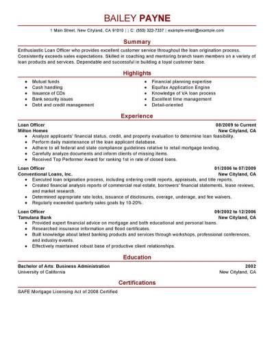 Best Loan Officer Resume Example | LiveCareer
