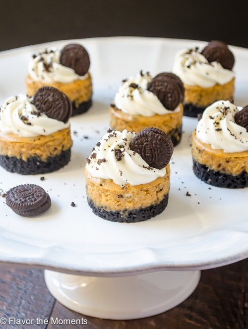Mini Cookies 'n Cream Pumpkin Cheesecakes