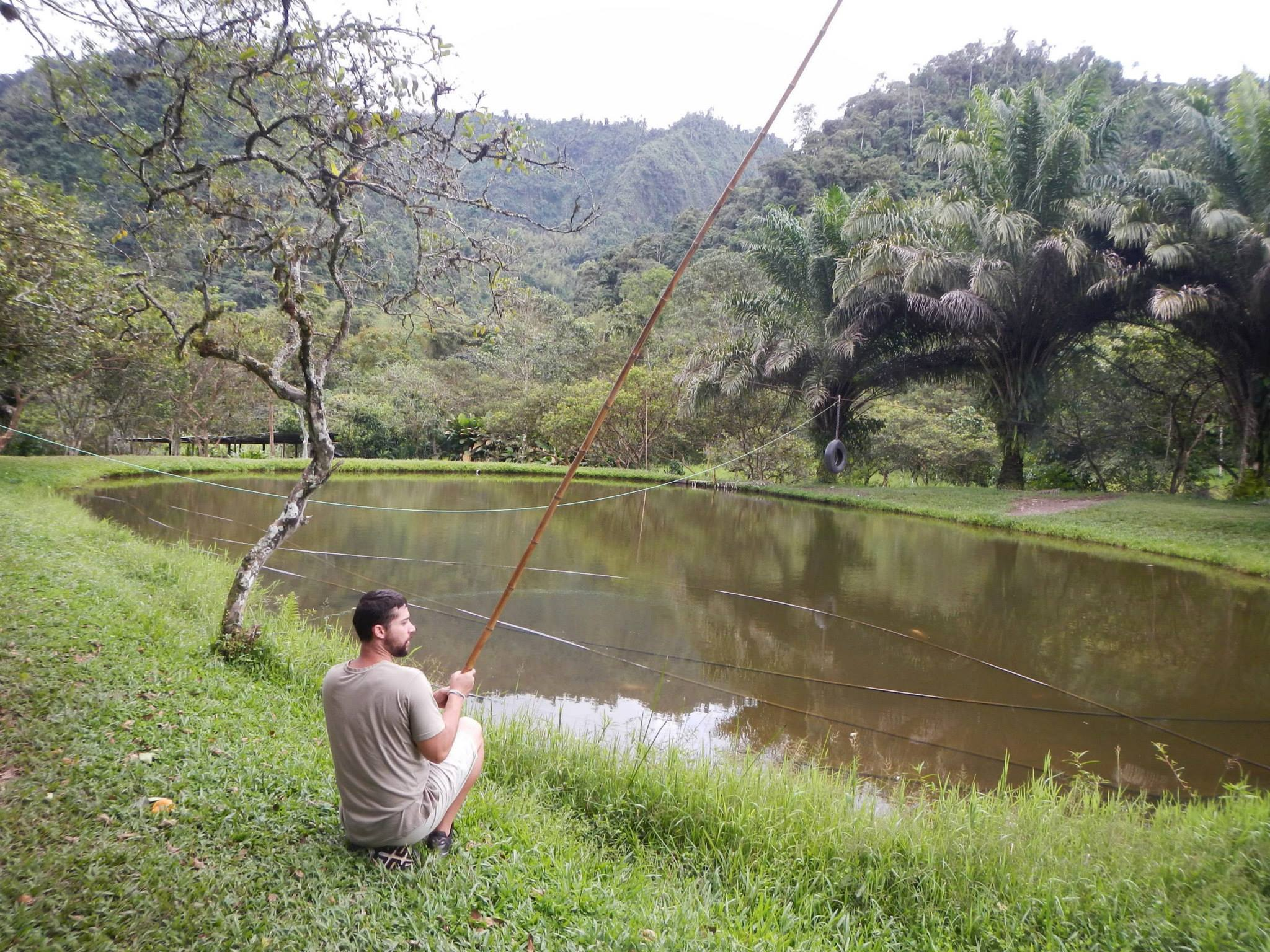 Josh fishing in Mindo Ecuador