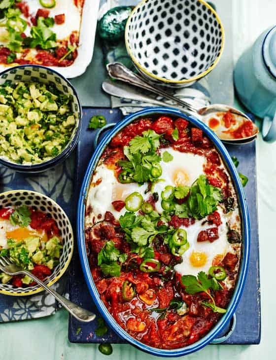 Baked Spicy Mexican Eggs with Chunky Guacamole