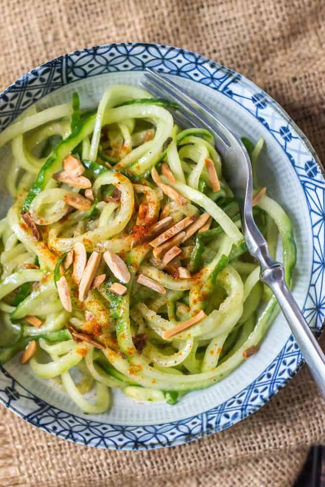 Cucumber Noodles with Sun-Dried Tomato Vinaigrette Top Close