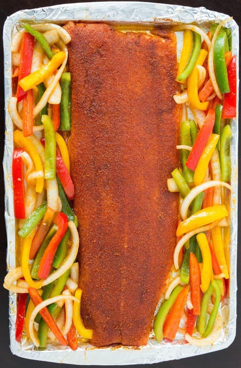 Easy One Pan Fajita Salmon with Vegetables
