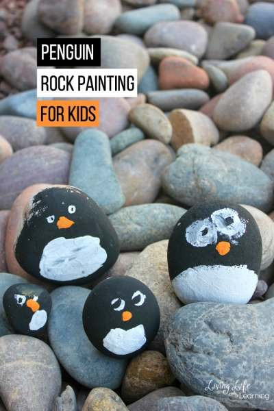 Penguin Rock Painting for Kids
