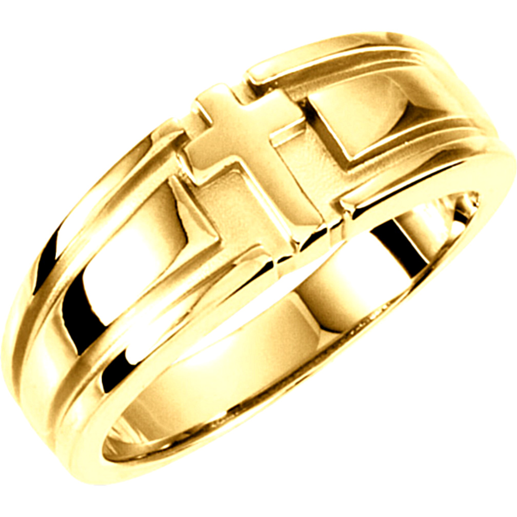 religious rings for men and women mens christian wedding bands Religious Cross Duo Band 14k Yellow Gold