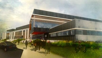 Schematic design of front entrance of new MSHS. On right is administration area with media/library above.