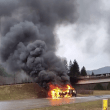 RV Engulfed by Flames near North Bend, Forces Short I-90 Closure near Truck Town