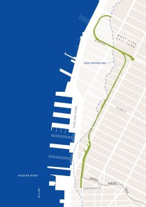The 1609 shoreline and the High Line. Map by Marty Schnure, created for On the High Line
