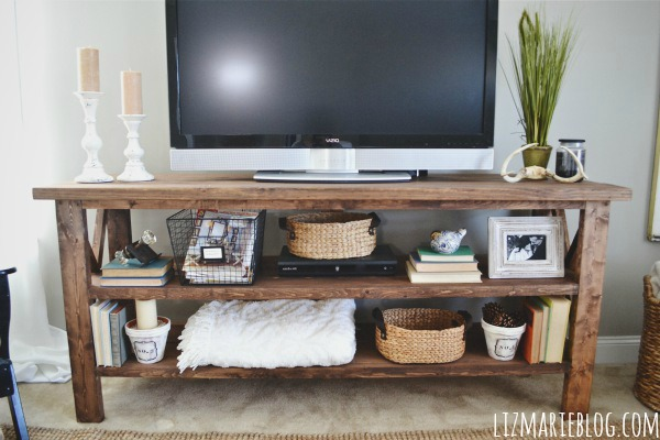 Woodwork diy rustic tv stand plans pdf plans for Diy tv table