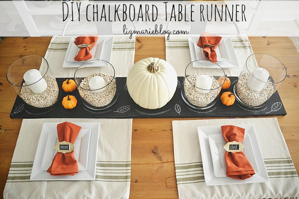 DIY Chalkboard Table Runner - Lizmarieblog.com