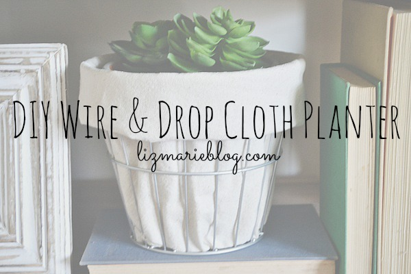 DIY Wire & Drop Cloth Planter - lizmarieblog.com
