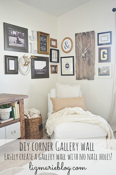 DIY corner gallery wall {with making no holes in the wall!} - Lizmarieblog.com