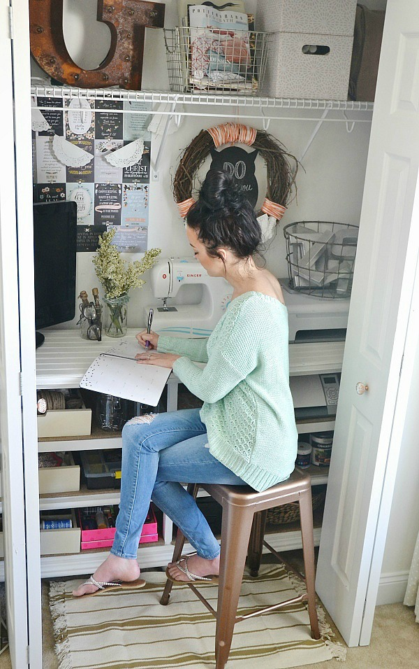 DIY craft closet office - lizmarieblog.com