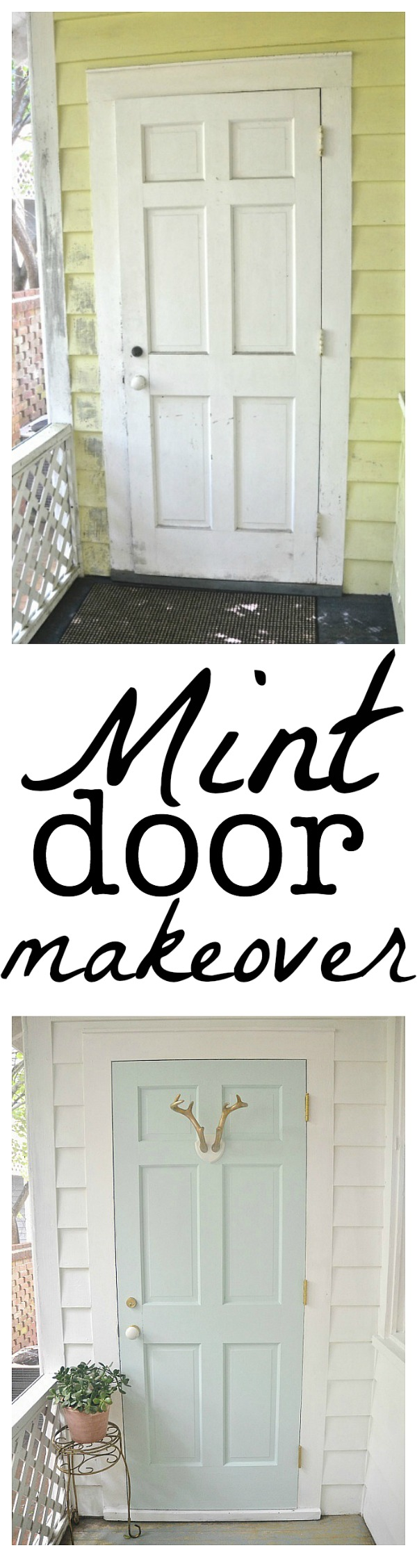 Mint door makeover - Behr Whipped Mint - lizmarieblog.com
