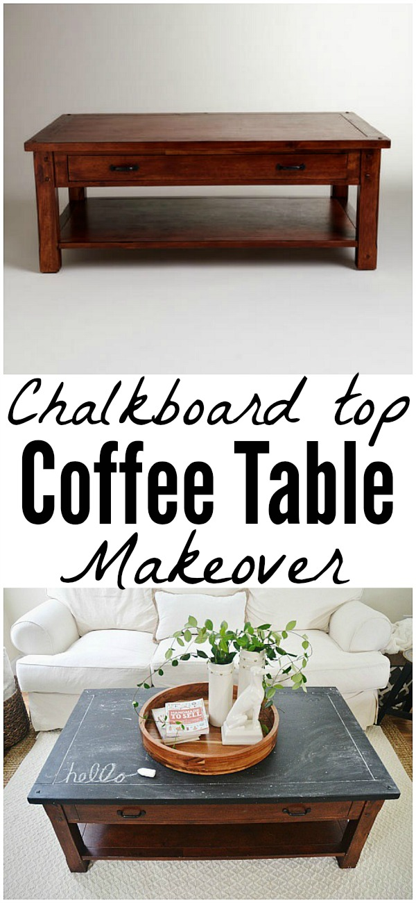 Chalkboard top coffee table makeover - A quick and easy way to fix any table top!