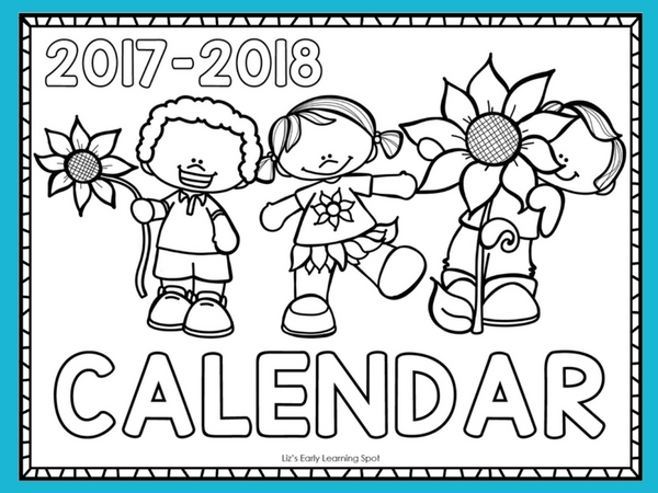 Free 2017-2018 Monthly Calendar for Kids   Liz