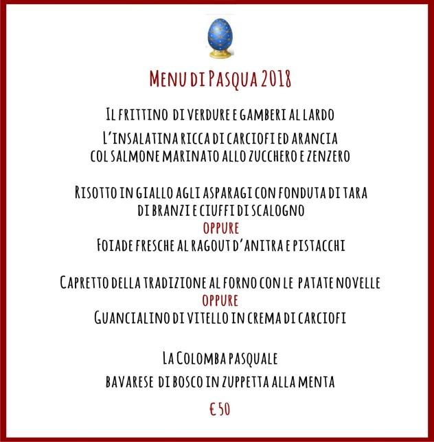 menu di pasqua 50 €