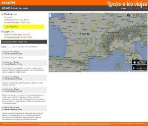 Web de Easyjet con información del vuelo a Ginebra