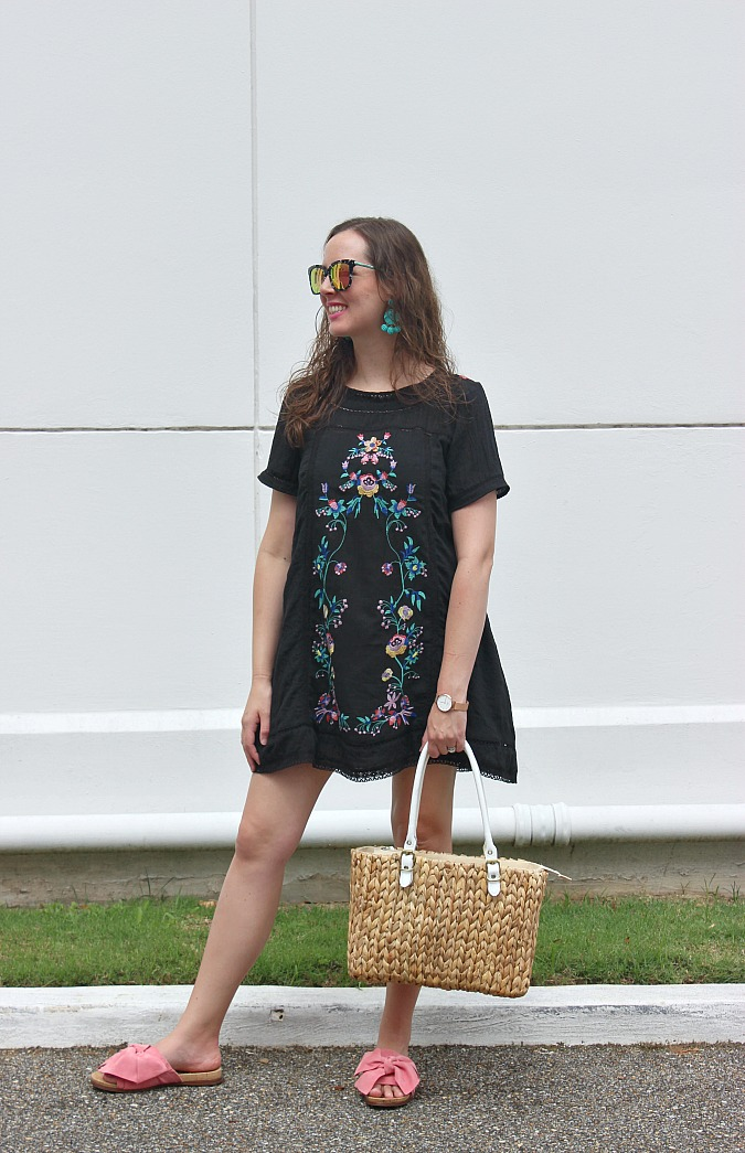 Black lace embroidered dress 5