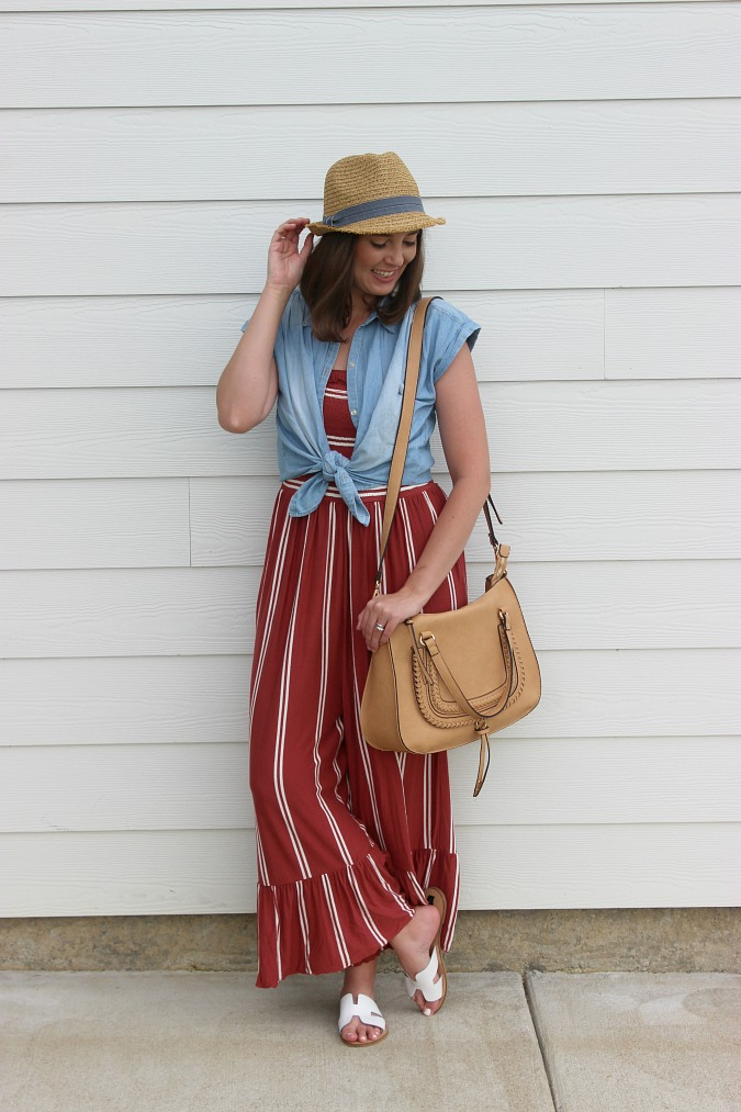 Stripe Jumpsuit White Sandals