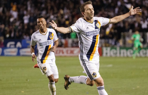 Midfielder Mike Magee (right) turned in a man-of-the-match performance in the Galaxy's season opener.