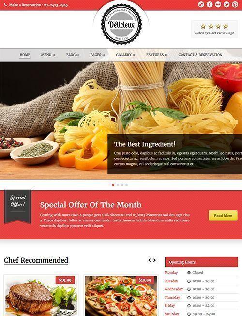 Delicieux - Plantilla WordPress restaurantes